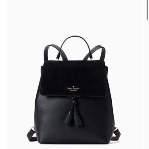 Kate Spade hayes suede medium flap backpack black